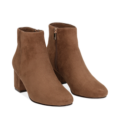Ankle boots taupe in microfibra, tacco 5,5 cm , Stivaletti, 142708211MFTAUP035, 002a