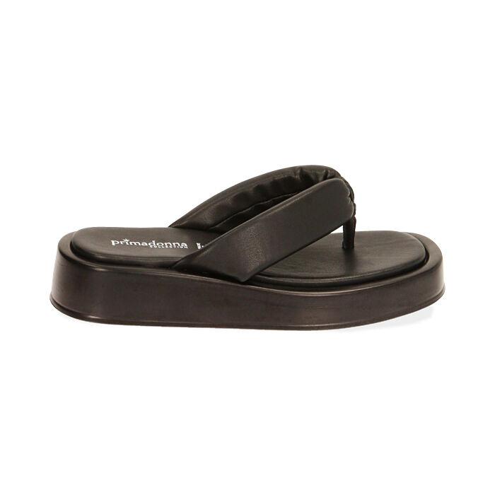 Sandali neri, zeppa 4 cm , Primadonna, 17A134336EPNERO035