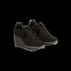 Sneakers nere zeppa platform, 122808661MFNERO036, 002