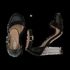 Sandali neri in eco-pelle, tacco plexi 10 cm , Sandali con tacco, 132708221EPNERO036, 003 preview