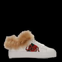 Sneakers bianche con ricami animalier e dettagli in faux-fur, Primadonna, 126102020EPBIAN036, 001a
