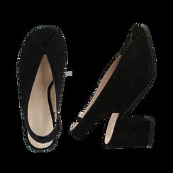 Slingback nere in camoscio, tacco 8 cm , Primadonna, 13D602014CMNERO036, 003 preview