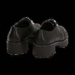 Stringate nere in eco-pelle con suola carrarmato , Scarpe, 140692718EPNERO036, 004 preview