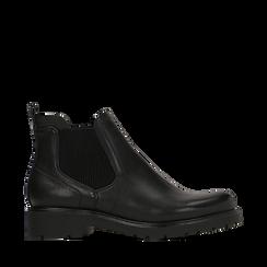 Chelsea boots neri in eco-pelle, Stivaletti, 140802204EPNERO035, 001a