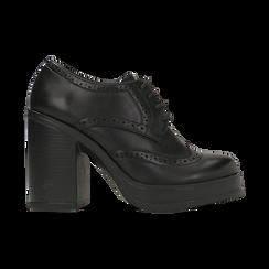 Francesine stringate nere, tacco 9,5 cm, Scarpe, 129320059EPNERO, 001 preview