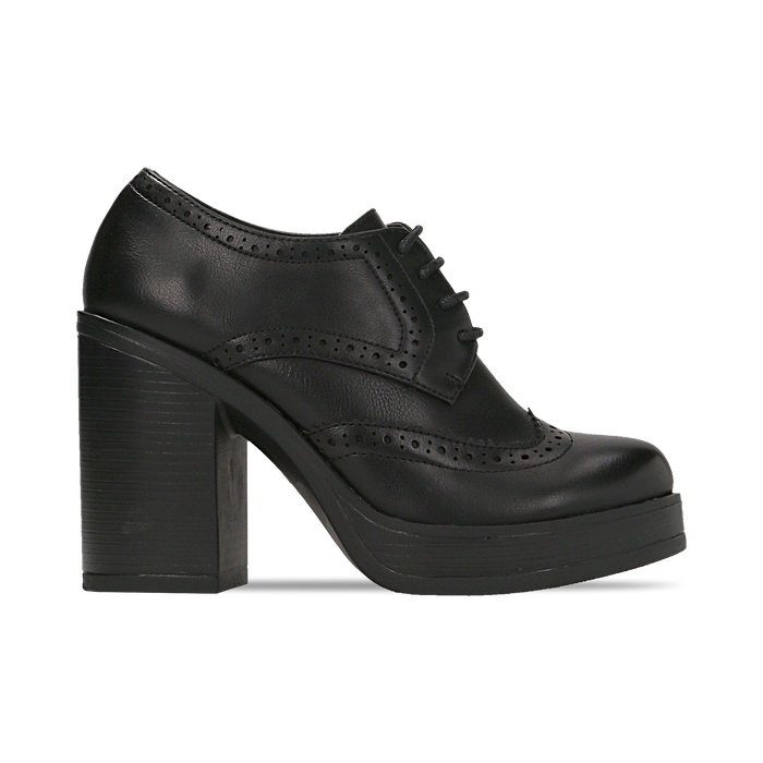 online retailer 05c5d f836a Francesine stringate nere, tacco medio quadrato
