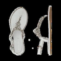 Sandali bianchi in pelle con strass, Primadonna, 136200941PEBIAN036, 003 preview