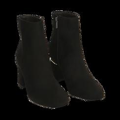 Ankle boots neri in microfibra, tacco 6,50 cm , Promozioni, 164981031MFNERO036, 002 preview