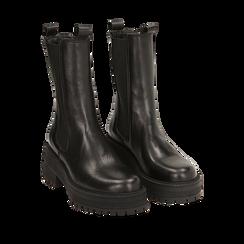 Chelsea boots neri in pelle di vitello, suola 6 cm, Primadonna, 168915835VINERO036, 002a