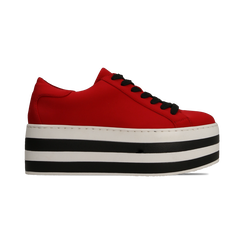 Sneakers rosse con suola platform a righe 6 cm, Scarpe, 12A777615LYROSS, 001 preview