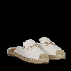 Mules espadrillas bianche in eco-pelle , Scarpe, 134951159EPBIAN035, 002a