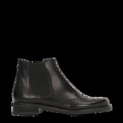 Chelsea Boots neri in vera pelle, tacco basso, 127717706PENERO036, 001a