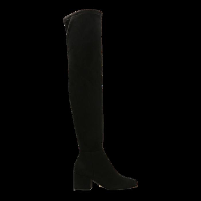 Stivali sopra il ginocchio neri scamosciati, tacco 6 cm, Scarpe, 124911283MFNERO