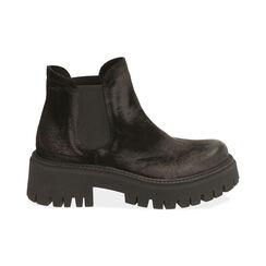 Chelsea boots neri in camoscio, tacco 5,5 cm , Primadonna, 187204438CMNERO035, 001 preview