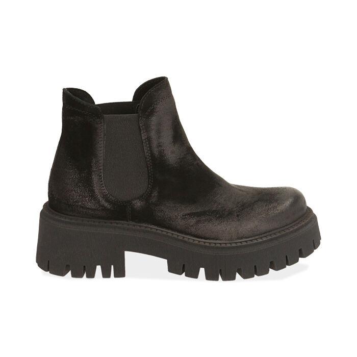 Chelsea boots neri in camoscio, tacco 5,5 cm , Primadonna, 187204438CMNERO035