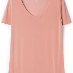 T-shirt con scollo a V nude in tessuto, Primadonna, 13F750713TSNUDEL, 002a