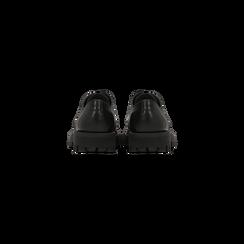 Brogues stringate nere in vera pelle, suola comfort, Scarpe, 127723708VINERO, 003 preview