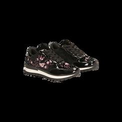 Sneakers nere con ricami floreali velluto, Primadonna, 121617734VLNERO, 002 preview
