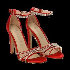 Sandali rossi in raso con strass argento, tacco stiletto 11 cm, Scarpe, 132120689RSROSS036, 002a