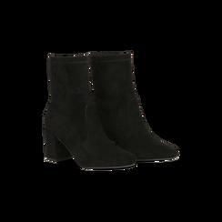 Tronchetti neri scamosciati, tacco 7,5 cm, Scarpe, 122115991MFNERO, 002 preview