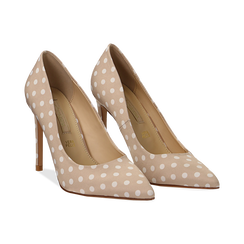 Décolleté nude in raso a pois bianchi, tacco 10,5 cm, Scarpe, 132166025RSNUDE035, 002 preview