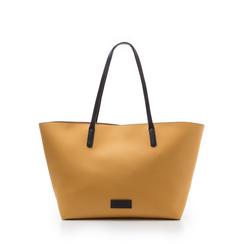 Maxi-bag gialla in eco-pelle con manici neri, Borse, 133783134EPGIALUNI, 001a
