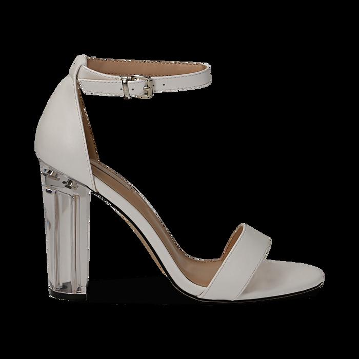 Sandali bianchi in eco-pelle, tacco plexi 10 cm , Scarpe, 132708221EPBIAN037