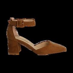 Décolleté marrone in microfibra con cinturino alla caviglia, tacco a blocco 6,5 cm, Scarpe, 132182395MFMARR037, 001 preview