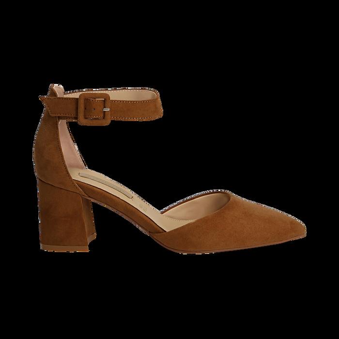 Décolleté marrone in microfibra con cinturino alla caviglia, tacco a blocco 6,5 cm, Scarpe, 132182395MFMARR037