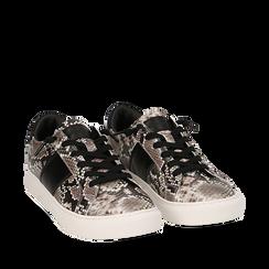 Sneakers bianco/nere stampa pitone, Primadonna, 162619071PTBINE035, 002a