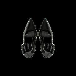 Décolleté nere con cinturino, tacco stiletto 11 cm, Scarpe, 122182062EPNERO, 004 preview