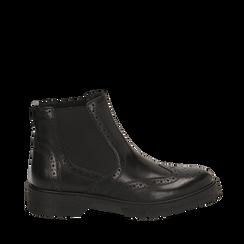 Chelsea boots neri in pelle di vitello, Stivaletti, 147723704VINERO035, 001a