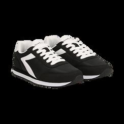 Sneakers nere in tessuto, design aerodinamico, Scarpe, 132619024TSNERO036, 002 preview