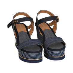 Sandali jeans, zeppa 9,50 cm , Primadonna, 154401118TSJEAN035, 002 preview