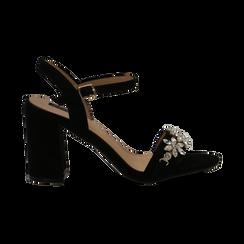 Sandali neri in microfibra con maxi-pietre, tacco 8 cm, Primadonna, 134900971MFNERO035, 001 preview