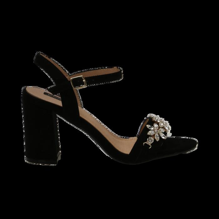 Sandali neri in microfibra con maxi-pietre, tacco 8 cm, Primadonna, 134900971MFNERO035