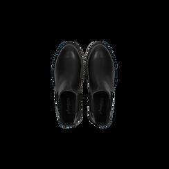 Chelsea Boots neri con tacco basso, Scarpe, 120618208EPNERO, 004 preview