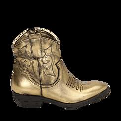 Camperos oro in laminato, Stivaletti, 148900250LMOROG036, 001a