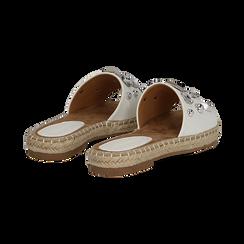 Mules espadrillas bianche in eco-pelle con gemme, Primadonna, 134900008EPBIAN035, 004 preview
