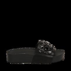 Zeppe nere in eco-pelle con gemme, zeppa 4 cm, Primadonna, 115160026EPNERO035, 001a