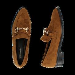 Mocassini cuoio in microfibra, Chaussures, 164964141MFCUOI041, 003 preview