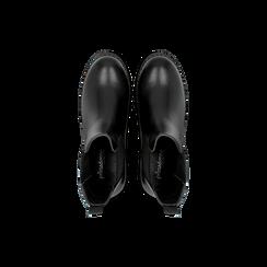 Chelsea Boots neri in vera pelle con tacco basso, Scarpe, 120639020EPNERO, 004 preview