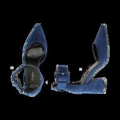 Décolleté blu in microfibra, tacco 8 cm, Primadonna, 164823062MFBLUE037, 003 preview