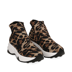 Sneakers a calza leopard in lycra, zeppa 5 cm , Scarpe, 142008357LYLEMA036, 002a