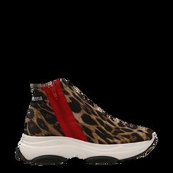 Sneakers leopard in lycra con zip, Scarpe, 12A783210LYLEOP036, 001a