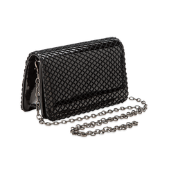 Pochette nera a rete in ecopelle vernice, Borse, 123308810VENEROUNI, 003 preview