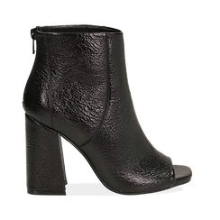 Ankle boots open toe neri, tacco 10 cm ,