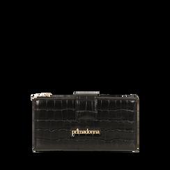 Portafogli nero stampa cocco , IDEE REGALO, 165122158CCNEROUNI, 001a