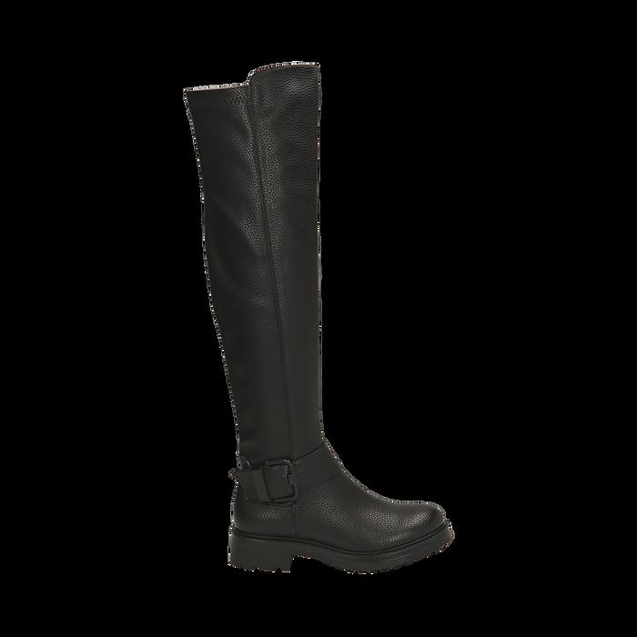 Stivali overknee neri con lavorazione bottalata, Primadonna, 163003615ELNERO036