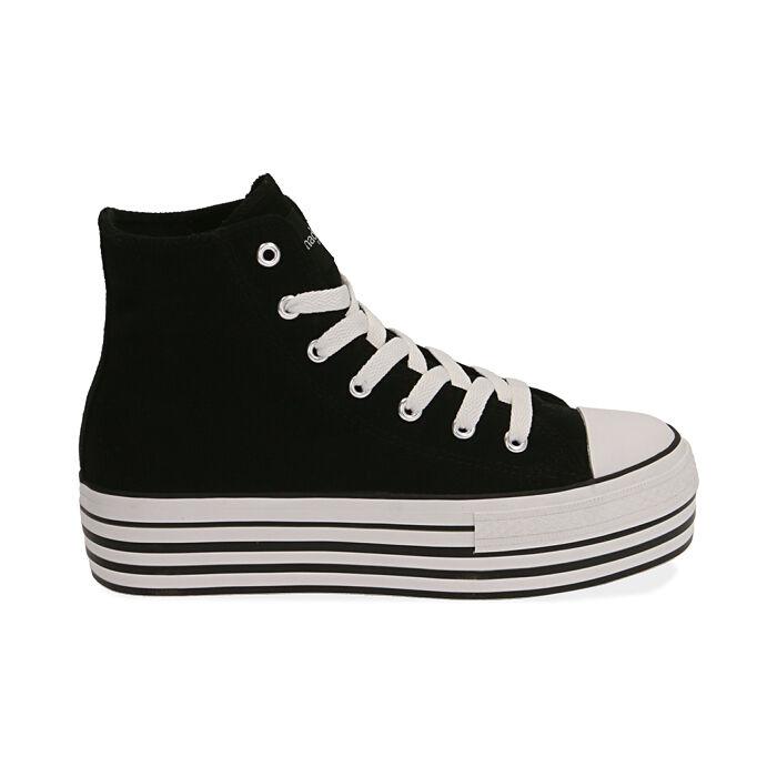 Sneakers nere in canvas, Primadonna, 172642103CANERO035